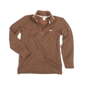 XL  - Brown - Fleece 1/4 Zip Pullover Sweater
