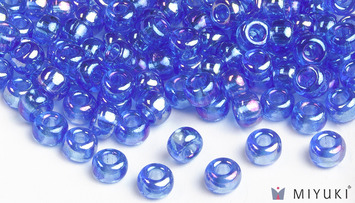 Miyuki 6/0 Glass Beads 261 - Transparent Cornflower AB approx. 30 grams picture