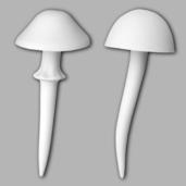 2 Medium Mushroom Garden Stakes