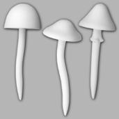 3 Small Mushroom Garden Stakes