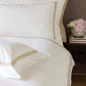 Versailles White with Ivory Band 400TC Queen Duvet Set