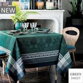 """Fontainebleau Vert Profond Tablecloth 69""""x100"""", Green Sweet"""