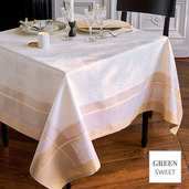 "Persina Dore Or Tablecloth 69""x143"", Green Sweet"