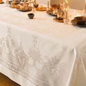 """Beauregard Ivoire Tablecloth 75""""x122"""", 100% Cotton"""