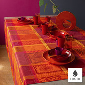 """Mille Wax Ketchup Tablecloth Round 69"""", Coated Cotton"""