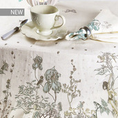 "Jardin Des Fees Aurore Tablecloth 61""x102"", 100% Linen"