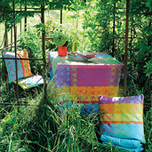 """Mille Colibris Antilles Tablecloth 71""""x71"""", 100% Cotton"""