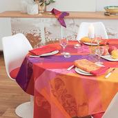 "Tablecloth Round Mille Fiori Feuillage Round 71"", Cotton - 1ea"