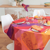 "Mille Fiori Feuillage Tablecloth Round 71"", 100% Cotton"