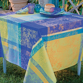 "Mille Patios Majorelle Tablecloth 71"" Round, Cotton"