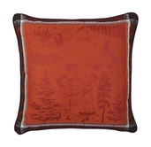 "Chant De Noel Bordeaux Cushion Cover 20""x20"", 100% Cotton"