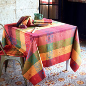 """Mille Alcees Litchi Tablecloth 71""""x118"""", 100% Cotton"""