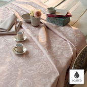 """Mille Charmes Rose Fume Tablecloth 69"""" Round, Coated"""