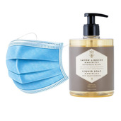 50 Disposable 3 layers masks + 3 bottles of Regenerating Honey French Hand Soap.