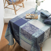 "Mille Fiori Givre Tablecloth 71""x118"", 100% Cotton"