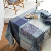 """Mille Fiori Givre Tablecloth 71""""x118"""", 100% Cotton"""