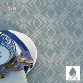 "Mille Ikats Zinc Tablecloth 59""x87"", Coated Cotton"