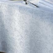 "Mille Charmes Blanc Tablecloth 71""x98"", 100% Cotton"