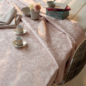 """Mille Charmes Rose Fume Tablecloth 71""""x118"""", 100% Cotton"""