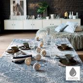 "Mille Azulejos Bleu Ardoise Tablecloth 59""x59"", Coated Cotton"