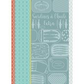 """Sardines A L Huile Turquoise Kitchen Towel 22""""x30"""", 100% Cotton"""