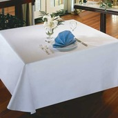 "Plain White Polyester Tablecloth Round 90"" Rnd"