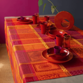 """Mille Wax Ketchup Tablecloth 45""""x45"""", cotton"""