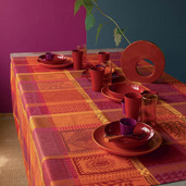 "Tablecloth Mille Wax Ketchup 71""x118"", Cotton - 1ea"