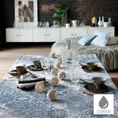 "Mille Azulejos Bleu Ardoise Tablecloth 59""x87"", Coated Cotton"