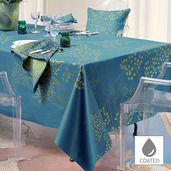 """Mille Branches Paon Tablecloth 69""""x69"""", Coated Cotton"""