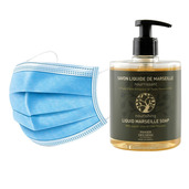 50 Disposable 3 layers masks + 3 bottles of Nourishing Olive Oil French Hand Soap.