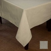"""Natte Beige Tablecloth 90"""" round, Cotton"""