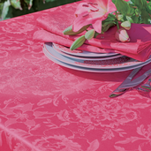 """Mille Charmes Raspberry Tablecloth 69"""" Round Coated"""