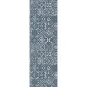 "Mille Azulejos Bleu Ardoise Tablerunner 19""x59"", Linen-Polyester blend"