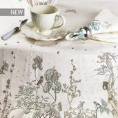 "Jardin Des Fees Aurore Tablecloth 45""x45"", 100% Linen"