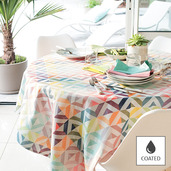 """Mille Twist Pastel Tablecloth 59""""x87"""", Coated Cotton"""