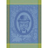 "Monsieur Chat Blue Kitchen Towel 22""x30"", 100% Cotton"