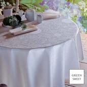 """Apolline White Tablecloth 69""""x143"""", Green Sweet"""