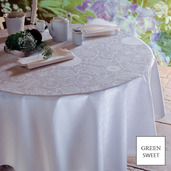 "Apolline White Tablecloth 69""x143"", Green Sweet"
