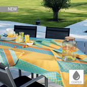 """Mille Claustras Corsica Tablecloth 59""""x87"""", Coated Cotton"""