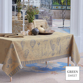 """Voyage Extraordinaire Or Pale Tablecloth 69""""x69"""", Green Sweet"""