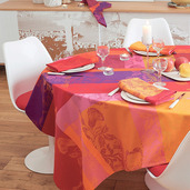 "Tablecloth Square Mille Fiori Feuillage 71""x71"", Cotton - 1ea"
