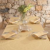 "Soubise Jaune D Or Tablecloth 68""x162"" GS Stain Resistant"