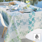 "Mille Hirondelles Menthol Tablecloth 59""x87"", Coated Cotton"