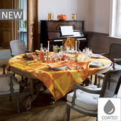 """Mille Banquets Ocre Tablecloth 69""""x69"""", Coated Cotton"""