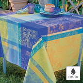 "Mille Patios Majorelle Tablecloth 69"" Round Coated"