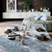 """Mille Azulejos Bleu Ardoise Tablecloth 45""""x45"""", Linen-Polyester blend"""