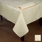 "Partridge Eye OA Ivory Tablecloth 90"" Round, Cotton"