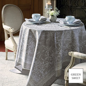 "Persephone Etain Tablecloth 69""x69"", GS Stain Resistant"