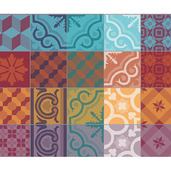 Mille Tiles Multicoloured Placemat, Cotton-4ea